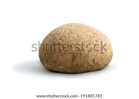 Round stone on white background with shadow. This kind  are found in Romania, and are called Feleac stones. It is not clear how they formed in this shape. - stock photo