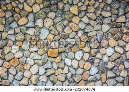 Round Stone Wall Texture, Exterior Of Old Construction