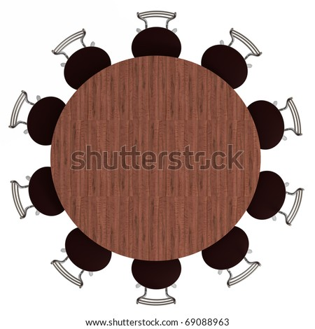 Round table and chairs, top view, isolated on white, with clipping path, 3d illustration - stock photo