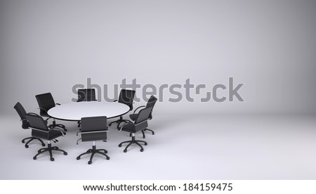 Round table and eight office chairs on a gray background. Cooperation concept - stock photo