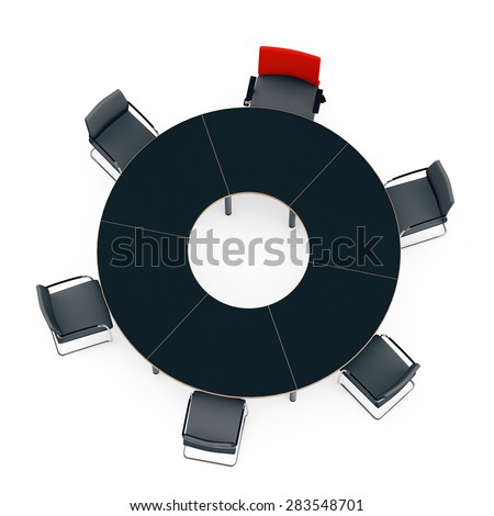 round table for negotiations with chairs, one red chair of the leader,  top view