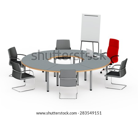 round table for negotiations with the laptop near a chair of the leader and flip chart - stock photo