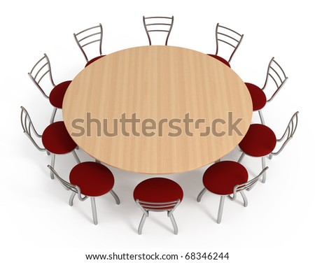Round table with chairs, isolated on white with clipping path, 3d illustration - stock photo