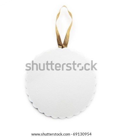 Round tag or card with gold ribbon isolated on white