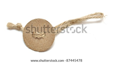 round tag tied with rope isolated on white - stock photo