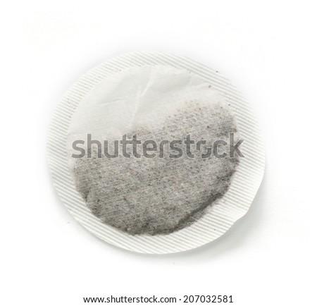 round tea bag isolated on white background - stock photo