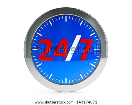 Round-the-clock emblem on white background represents 24 hours service, three-dimensional rendering - stock photo