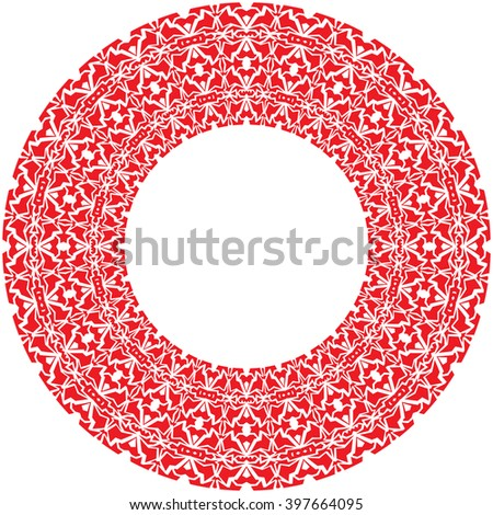 round thick frame from red complex ornamentation - stock photo