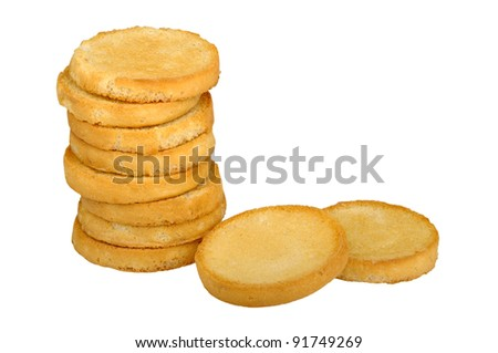 round toast isolated on a white background - stock photo
