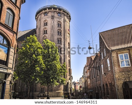 Round Tower located at old Copenhagen, Denmark - stock photo