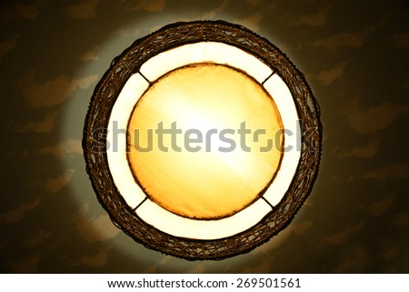 Round vintage lantern on the ceiling for frame and background - stock photo