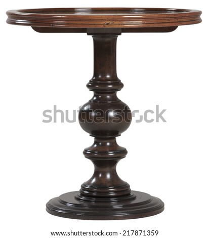 Round vintage old wooden table - stock photo