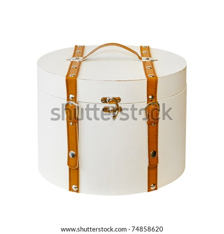 Round vintage suitcase isolated included clipping path - stock photo