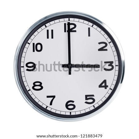 Round wall clock is exactly three hours - stock photo