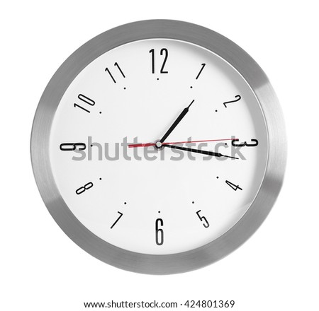 Round wall clock, isolated on white - stock photo
