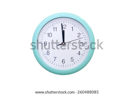 Round wall clock showing two minutes to midnight - stock photo