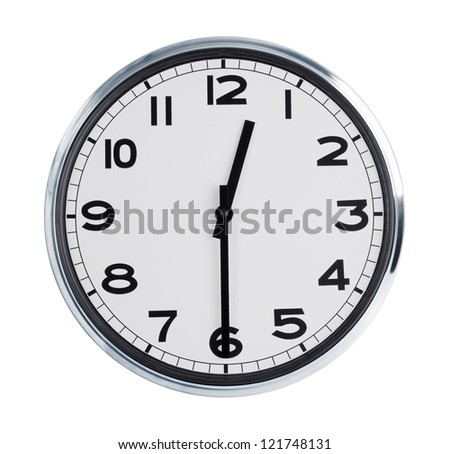 Round wall clock shows half past twelve - stock photo