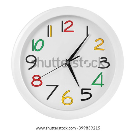 Round wall clock with colorful figures, isolated on white - stock photo