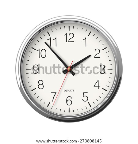 Round wall clock with metallic glossy body isolated on white background