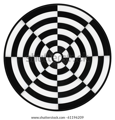 Round white and black circle isolated - stock photo