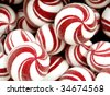 Round white and red mints - stock photo