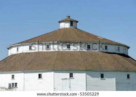Round white barn - stock photo