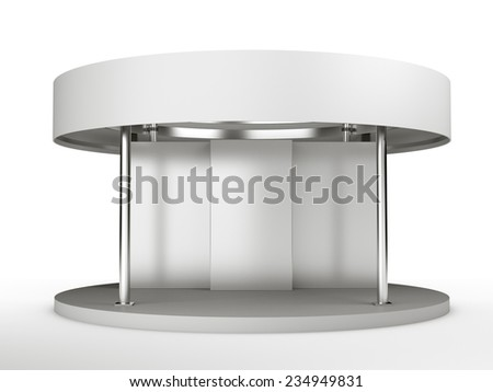 round white booth for customizing from front. render - stock photo