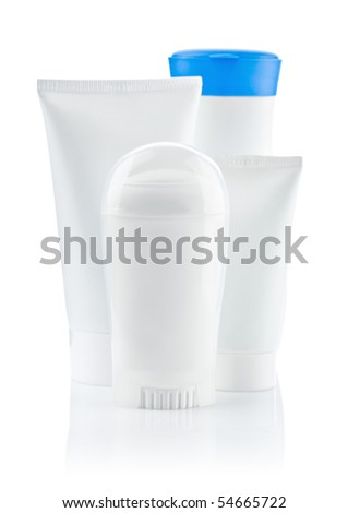 round white bottle and two tube and bottle with blue lid