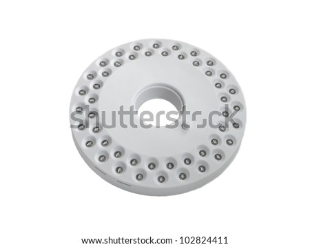 round white diode flash-light on a white  background