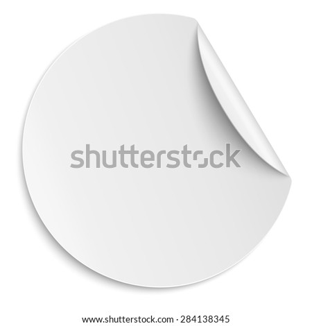 Round white paper sticker isolated. Light from upper right. - stock photo