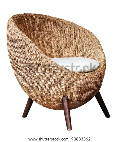 Round wicker chairs on white background - stock photo
