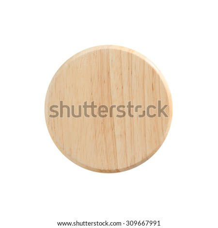 Round wooden board background isolate on white with clipping path. Abstract wooden round shape.