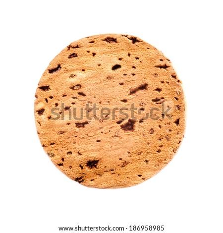 Round wooden cork, isolated on white background. - stock photo