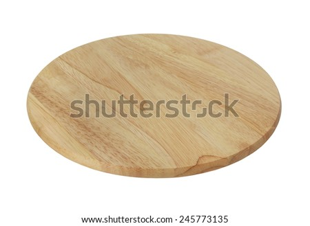 Round wooden cutting board isolated  - stock photo