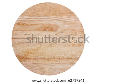 Round wooden cutting board, isolated on white