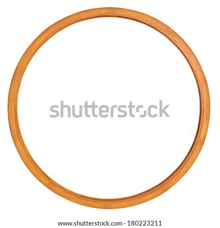 Round wooden frame isolated - stock photo