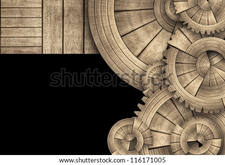 Round Wooden Gears and Boards Template - stock photo