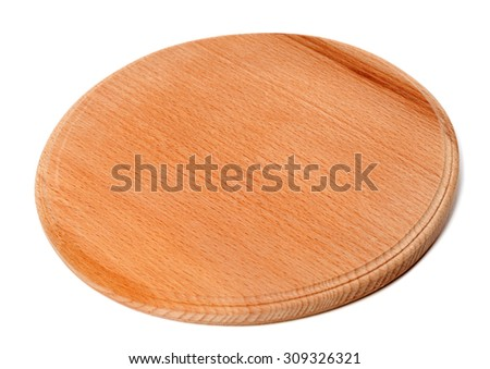 Round wooden kitchen board isolated on white background