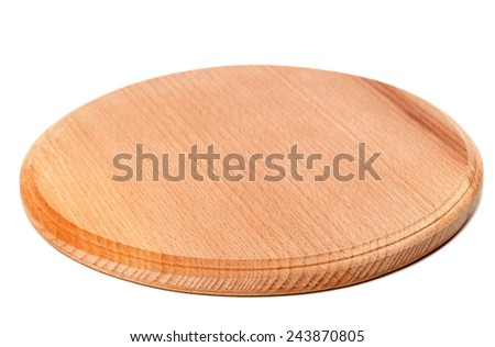 Round wooden kitchen board isolated on white background. Selective focus. - stock photo