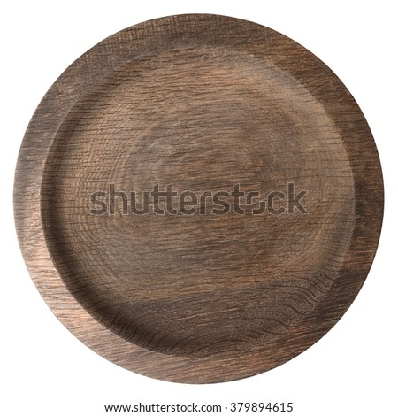 Round wooden plate shot from above isolated on white background - stock photo