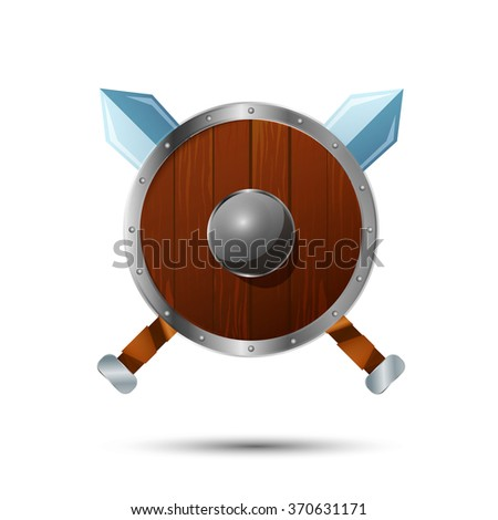 Round wooden shield with crossed swords cartoon icon - stock photo