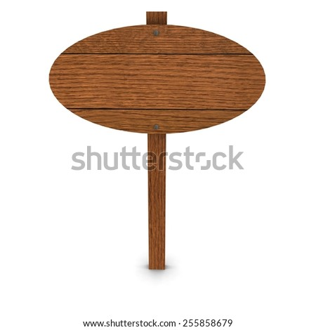 Round Wooden Sign - stock photo