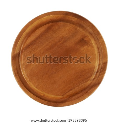 Round wooden tray salver isolated over the white background, above view - stock photo