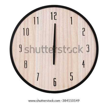 Round wooden wall clock, isolated on white - stock photo