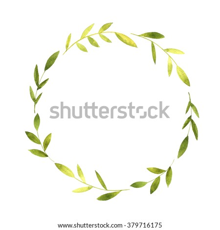 round wreath with watercolor green branches and leaves, floral frame,hand drawn template - stock photo
