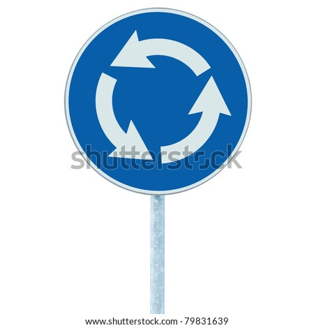 Roundabout crossroad road traffic sign isolated, blue, white arrows right hand