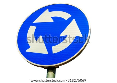 Roundabout crossroad road traffic sign on white - stock photo