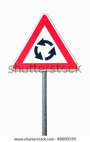 Roundabout road sign isolated