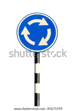 roundabout sign - stock photo