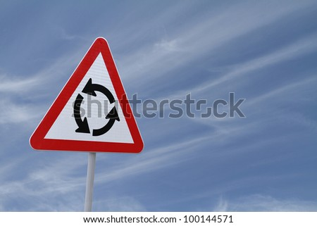 Roundabout Sign with a sky background